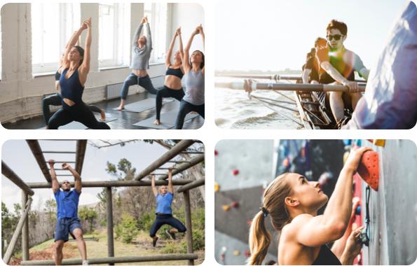 Sportieve mensen beoefenen yoga, roeien, buitensport en klimmen